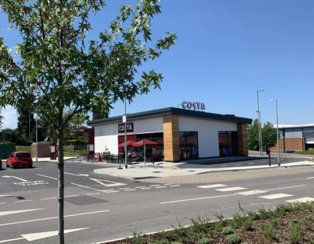 Exterior view of Costa Coffee in Letchworth Garden City